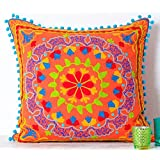 "Embroidered Orange Cotton Suzani Indian Cushion Cover. 20"" X 20"""
