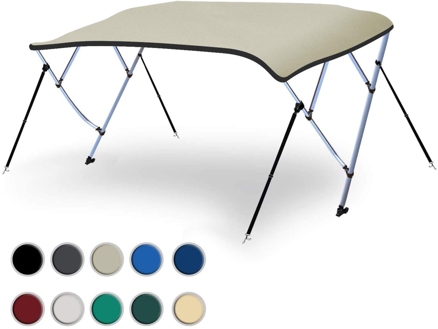 Naviskin 10 Optional Colors Available 3-4 Bow 13 Different Size Bimini Top Cover Includes Mounting Hardwares,Storage Boot with 1 Inch Aluminum Frame