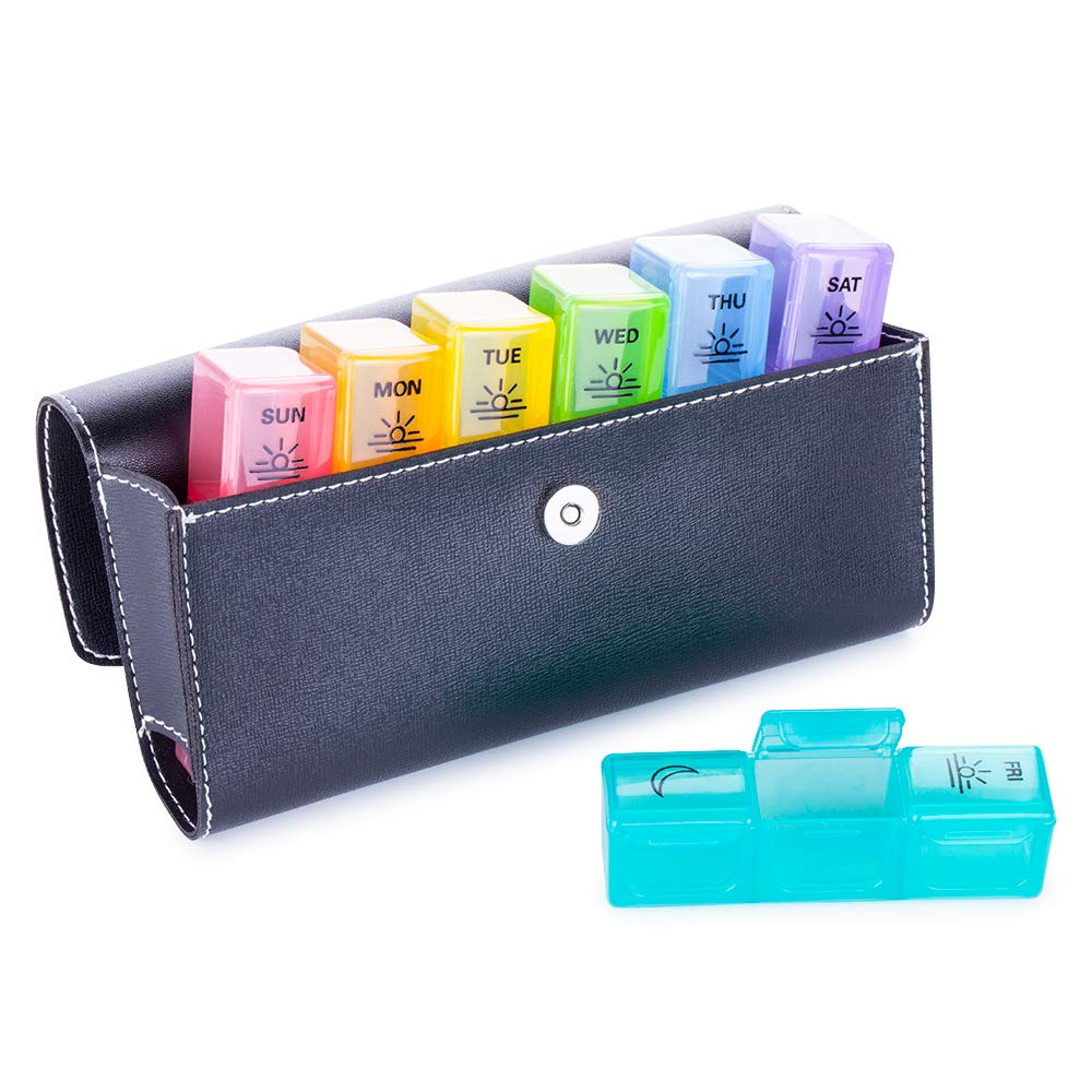 BUG HULL Pill Organizer 3 Times a Day with PU Leather Case, Large Weekly Pill Box, 7 Day Vitamin Containers, Med Case for Fish Oils, Daily Pill Holder for Supplements by BUG HULL