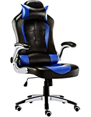 JL Comfurni Gaming Chair Ergonomic Swivel Executive Office Chair High Back Heavy Duty Home Office Computer Desk Chair Faux Leather Racing Chair (Black & Blue)
