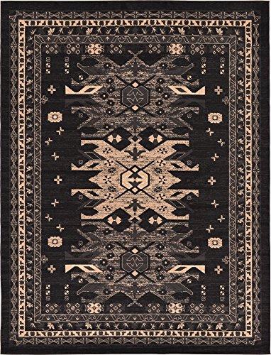 - Classic Traditional Geometric Persian Design Area rugs Black 6' 11 x 10' Qashqai Heriz rug