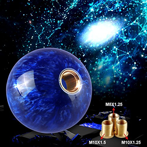 Ruien Marble Style Round Ball Gear Shift Knob with Adapters fit for Manual and Most Automatic 5-Speed 6-Speed Cars, Blue