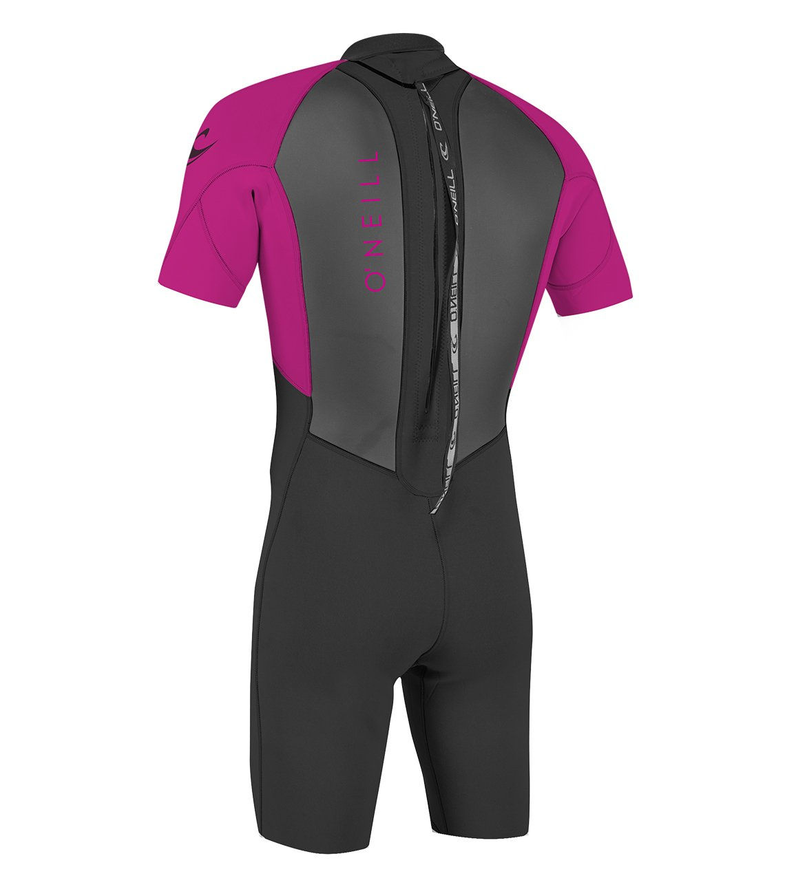 O'Neill Youth Reactor-2 2mm Back Zip Short Sleeve Spring Wetsuit, Black/Berry, 4 by O'Neill Wetsuits (Image #2)