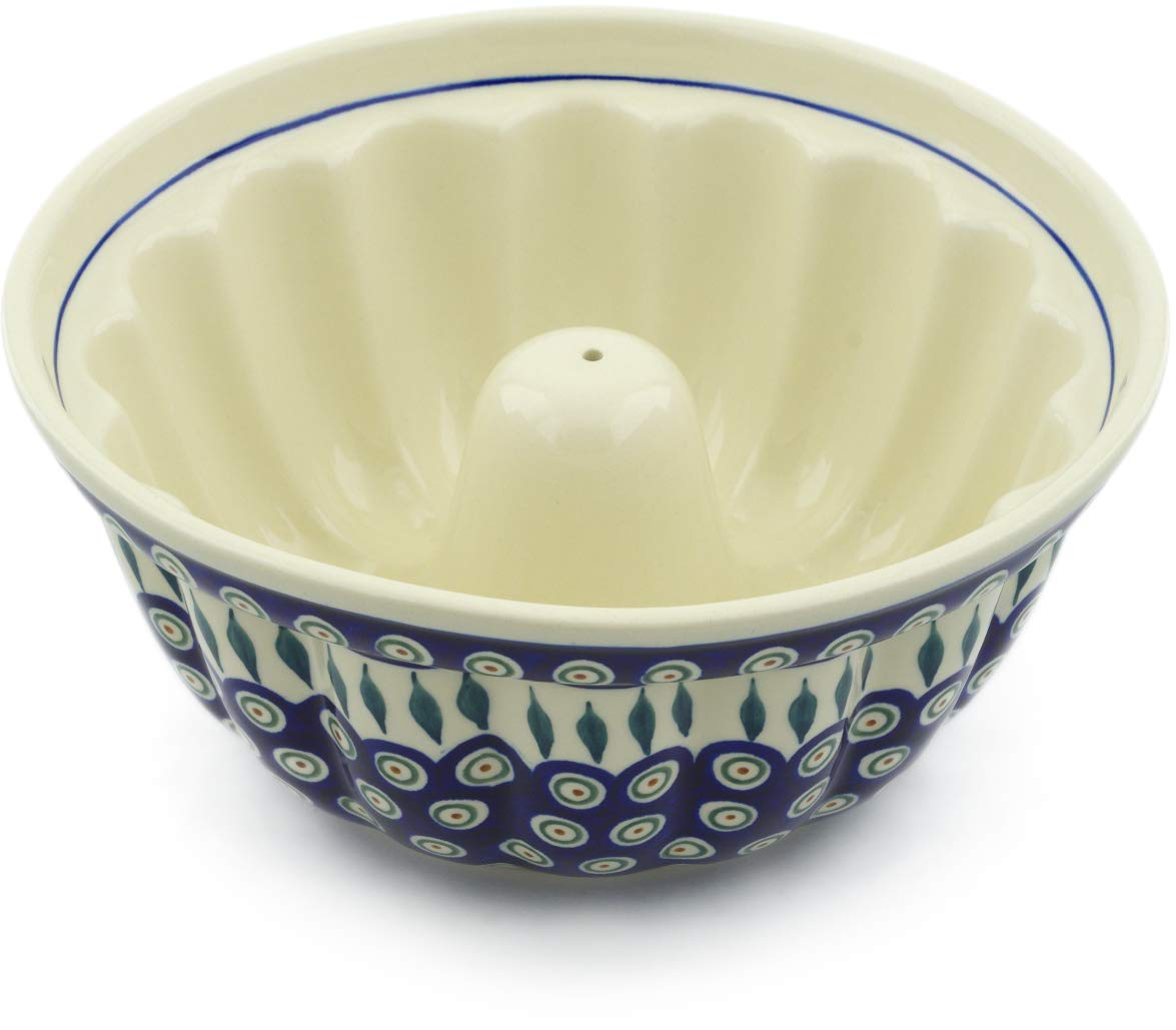 Polish Pottery 10½-inch Bundt Cake Pan (Peacock Leaves Theme) + Certificate of Authenticity