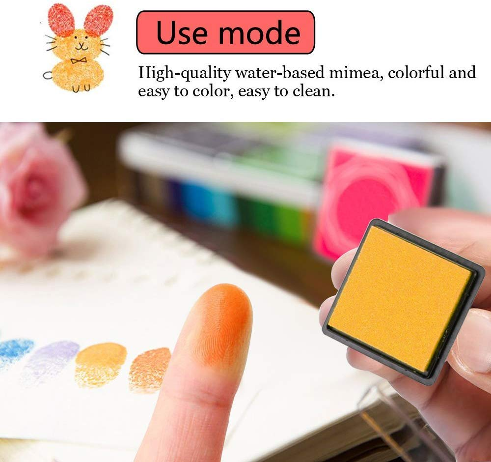 WeLiu Craft Ink Pad Stamps,Washable 20 Colors Rainbow Finger Ink Pad for Kids Pack of 20
