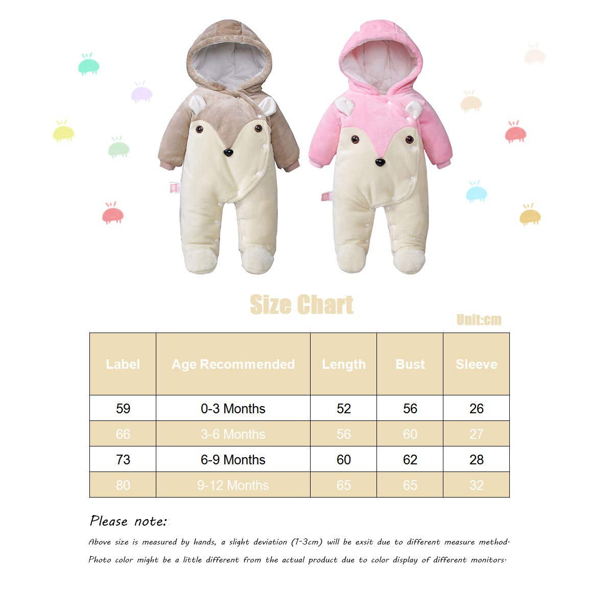 3-6 Months Baby Hooded Rompers Flannel Winter Outfits Boys Girls Snowsuits Feet Covered Jumpsuit