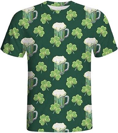 GreatFun Camisa Verde Mens 3D impresión Casual St. Patrick día de Manga Corta Camisa Top Blusa Casual Rayas Manga Corta Casual Slim Fit Delgado Impreso Blusa Caliente Popular Corto: Amazon.es: Ropa y
