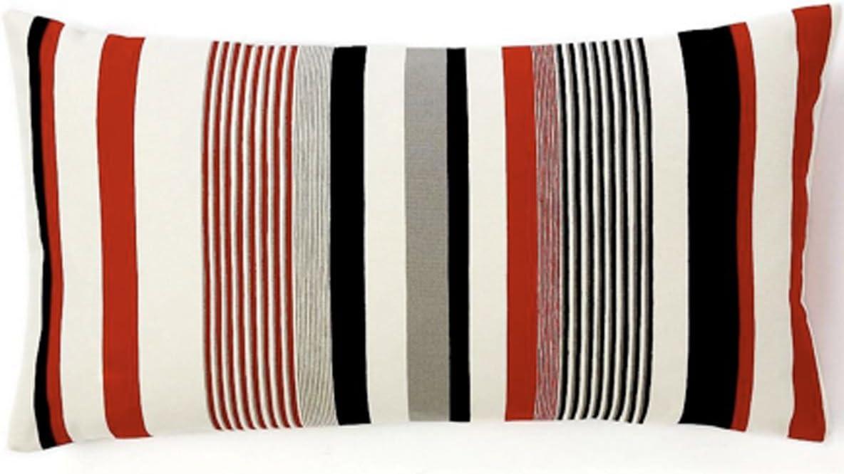 Jiti Siggi Stripes Throw Pillow, Cotton, 12 by 22-Inch, Red White Black