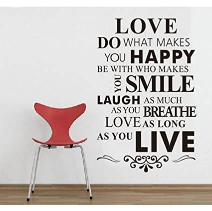 Amazon DIY Happy Live Laugh Love Smile Inspirational Quote Wall Beauteous Smile Laugh Love Quotes