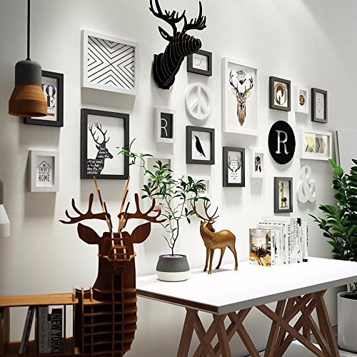 WUXK The Nordic photo wall combination deer head hanging photo frame wall in the living room walls are decorated in a minimalist creative photo Wall 7 by WUXK