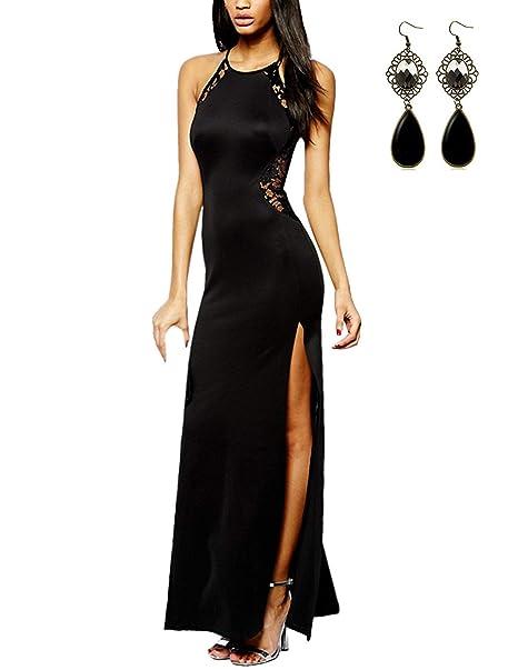 468535bef7a8 BYD Vestido para Mujeres Escotado por Detrás Vestidos Largos de Encaje Lace  con Aberturas Noche