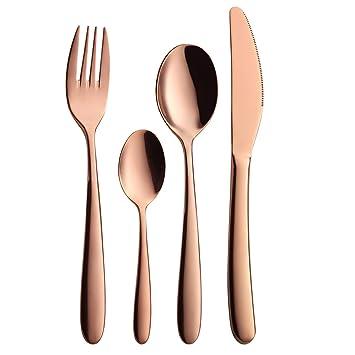 Cubiertos conjunto de 24 piezas Rose Gold cubertería conjunto, AOOSY 18/10 acero inoxidable cubiertos cuchillo moderno tenedor cuchara set para 6 persona: ...