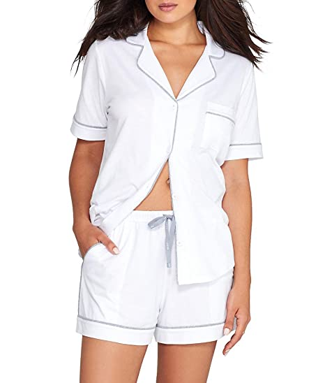 f1e83c34f7 Amazon.com  DKNY New Signature Boxer PJ Set in White (2819259 100)  Clothing