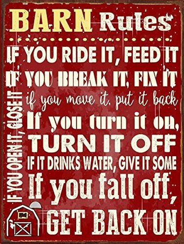 Barn Rules Metal Sign, Stable, Rustic Décor, Cowboy, Ranch, ()
