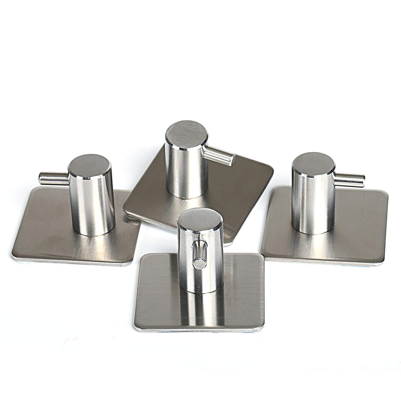 4-Pack Towel Hook Self Adhesive SUS 304 Stainless Steel Brushed Nickel Bathroom Kitchen Robe Organizer
