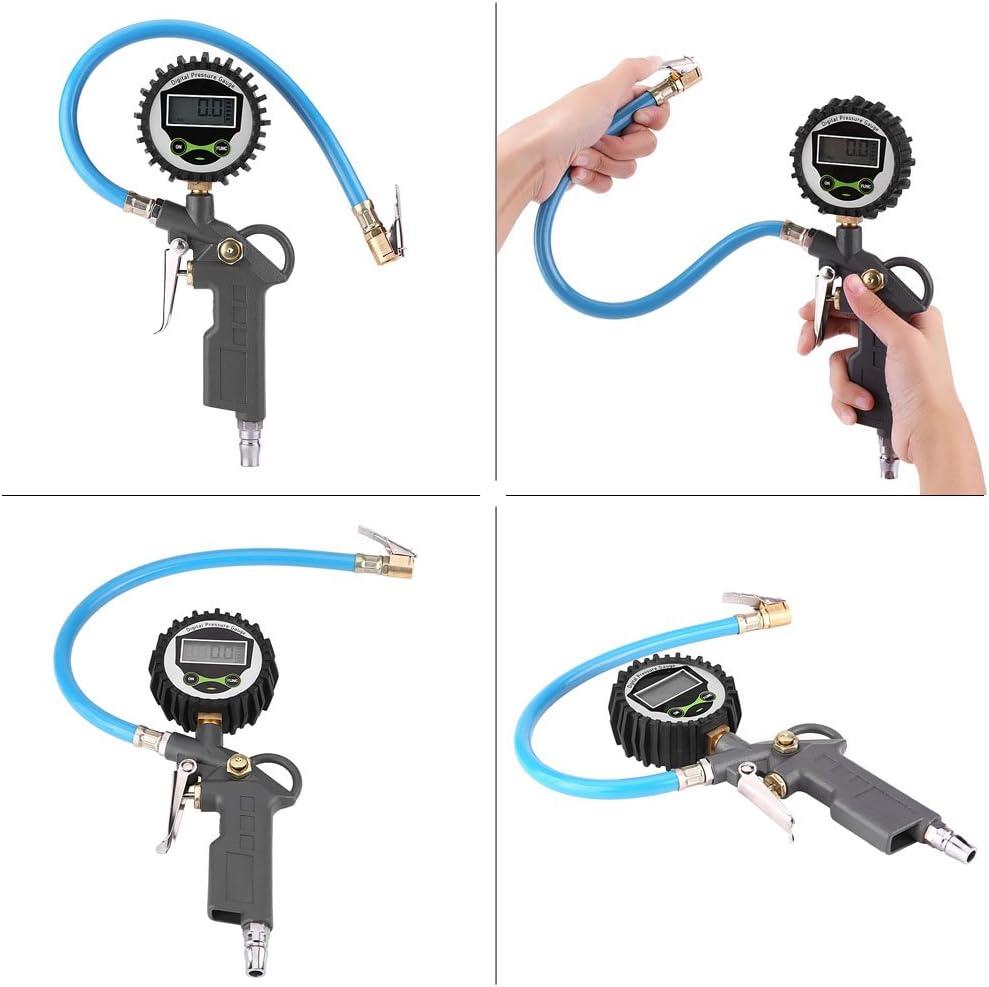 Digital Reifenf/üller Manometer Keenso LCD Manometer mit Gummischlauch f/ür Auto Auto Motorrad Fahrrad LKW