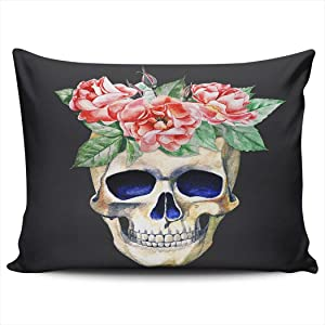 CENYUO Pillowcase Day of The Dead Skull with Red Flower Decorative Pillow Case Throw Pillows Cushion Cover Standard 20x26 Inch for Home Decor Sofa Bedroom
