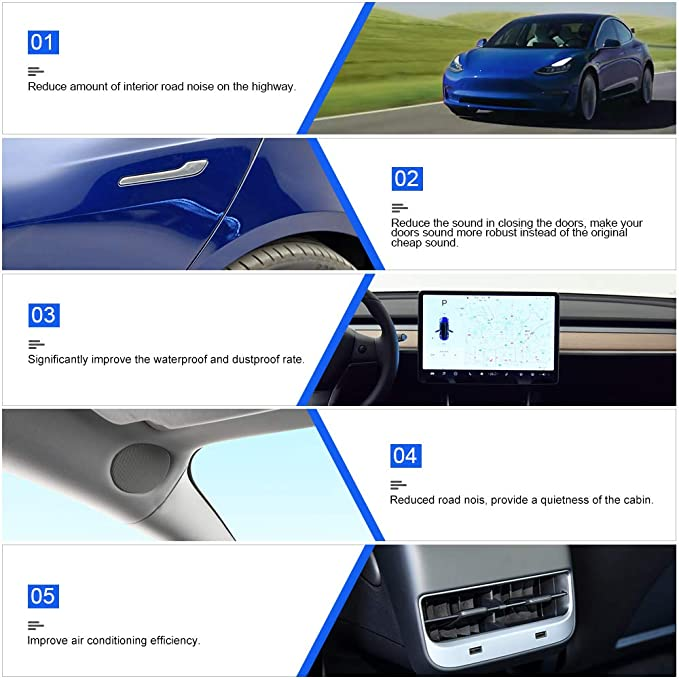 lesgos Self-Adhesive Wind Noise Reduction Kit Soundproof Rubber Weather Draft Seal Strip Kit Kit de joint de porte Tesla Model 3