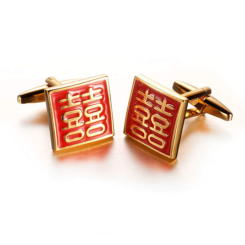 Aooaz Boutons Manchettes Homme Caract/ère Chinois Double Bonheur Boutons De Manchette Vintage Or Rouge