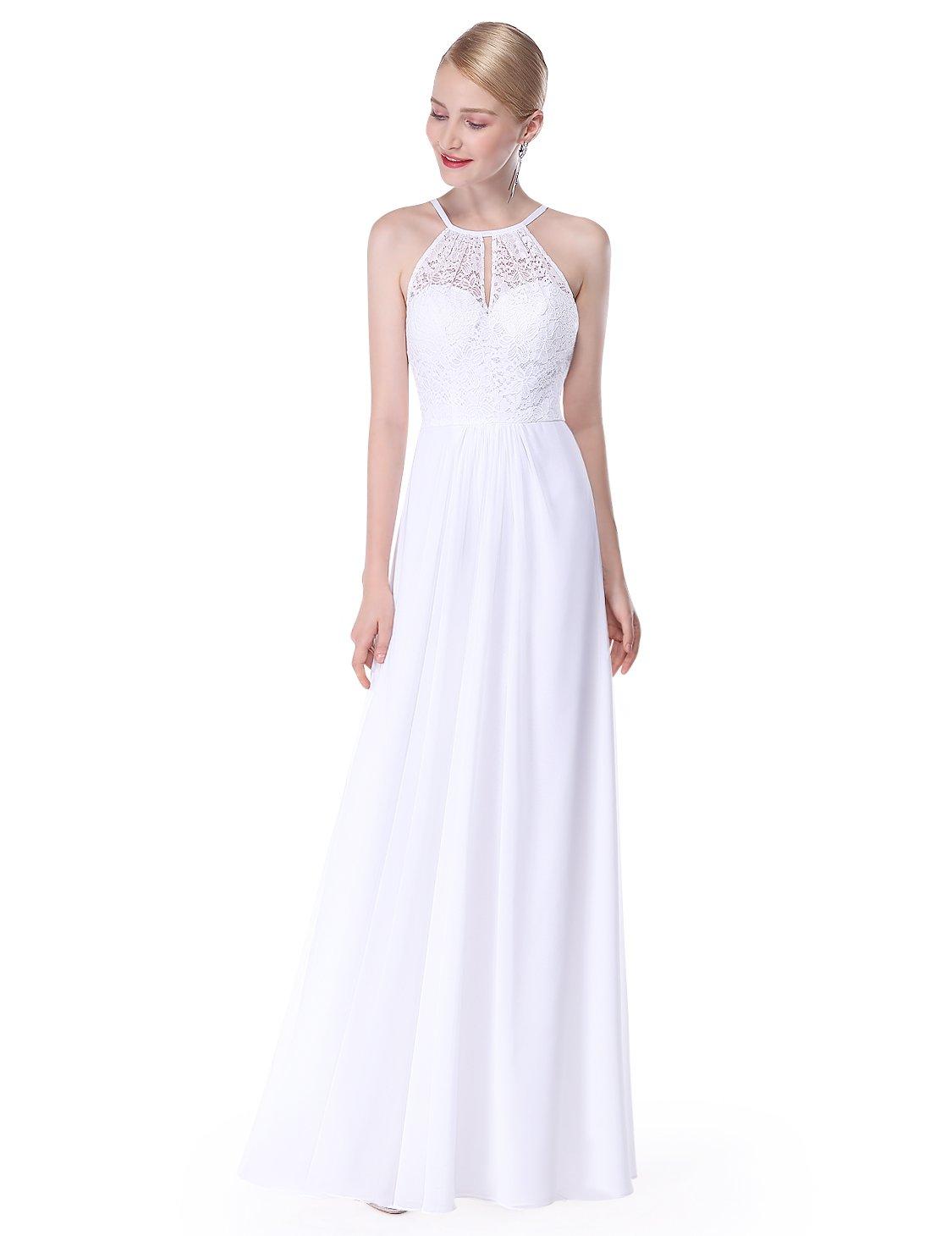 Ever-Pretty Womens Sleeveless Floor Length Simple Empire Waist Beach Wedding Dress 6 US White
