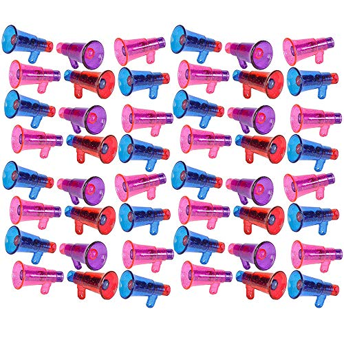 Colorful Megaphone Whistle with Glitters - 48 Pieces of Multi-Colored Noisemaker - Perfect for Kids Novelty, School Parades, Sports Equipment, Game Accessories, Party Favors and Supplies ()