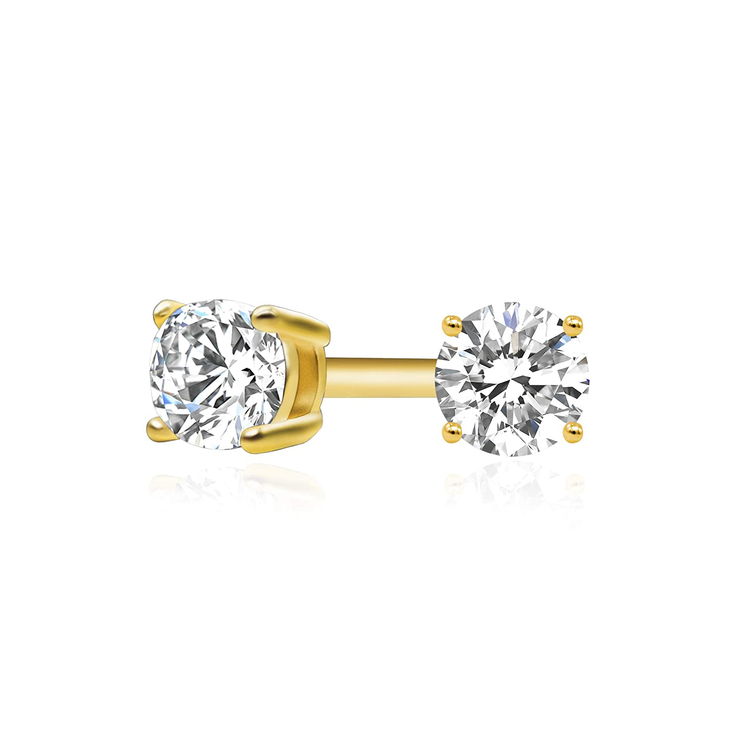 fac813864 Amazon.com: 14k Yellow Gold Plated 925 Sterling Silver Cubic Zirconia  Classic Basket Prong Set Eternity Stud Earrings, 2mm: Jewelry