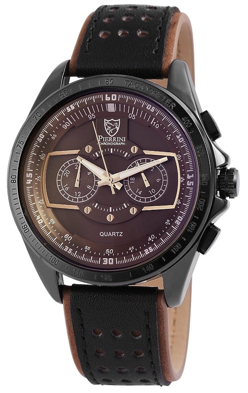 Pierrini Herren Dual Time Armbanduhr Lederband Analog Quarz Schwarz 291177000003
