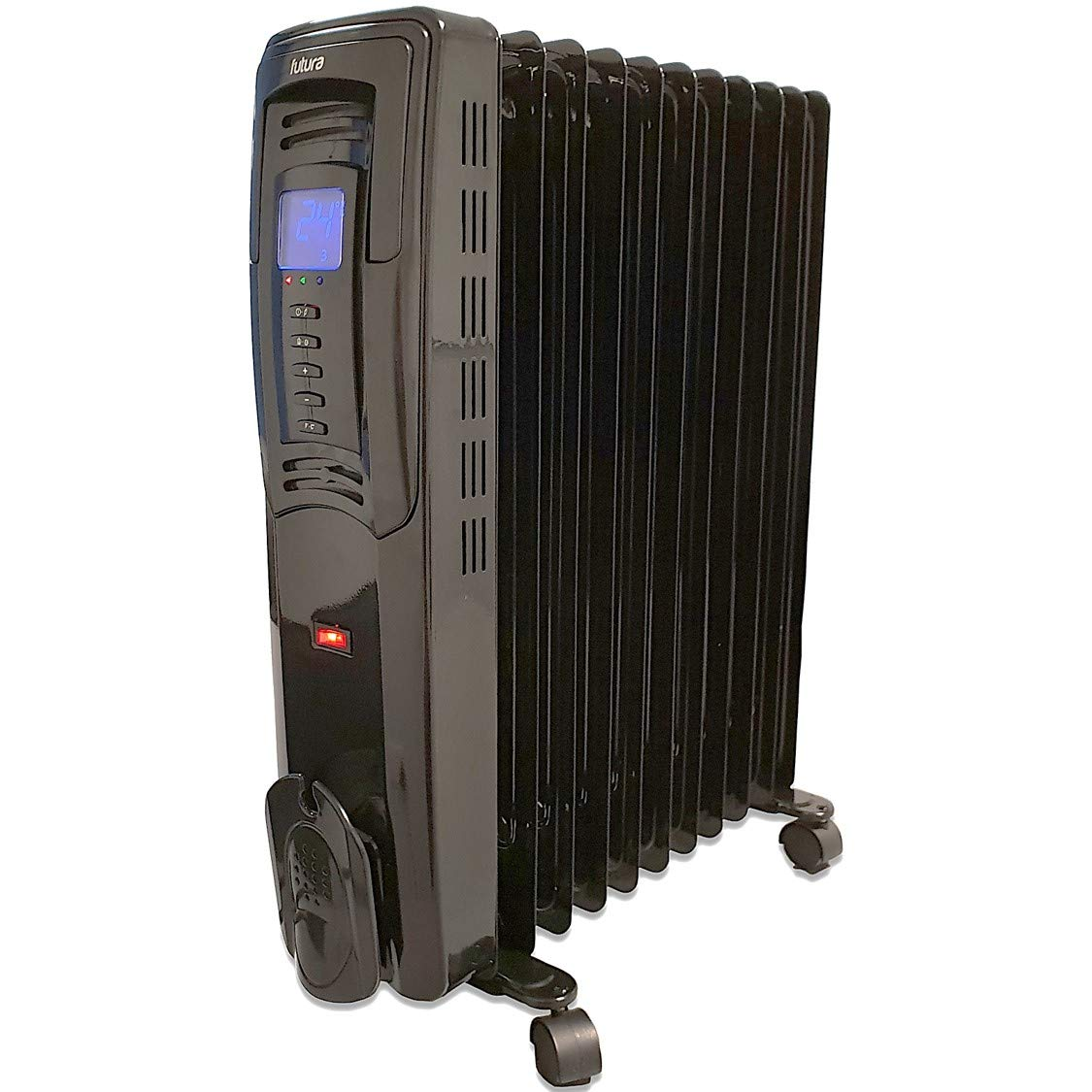 Futura Deluxe Digital Large Oil Filled Radiator 2500W, 3 Power Settings Countdown Timer Adjustable Thermostat, 11 Fin Electric Oil Heater, Oil Radiator Thermal Safety Overheat Protection Tip Over Cut off Extra Safety (Grey)