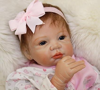 "22/"" Handmade Lifelike Reborn Dolls Silicone Vinyl Baby Boy Doll Gift Pacifier"