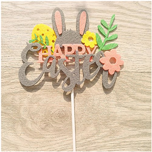 Easter Cake Toppers with Rabbit Ear, Magic Hat, Chick, Happy Easter Style Toppers For Easter, Birthday Party And Wedding Decoration (Happy Easter)