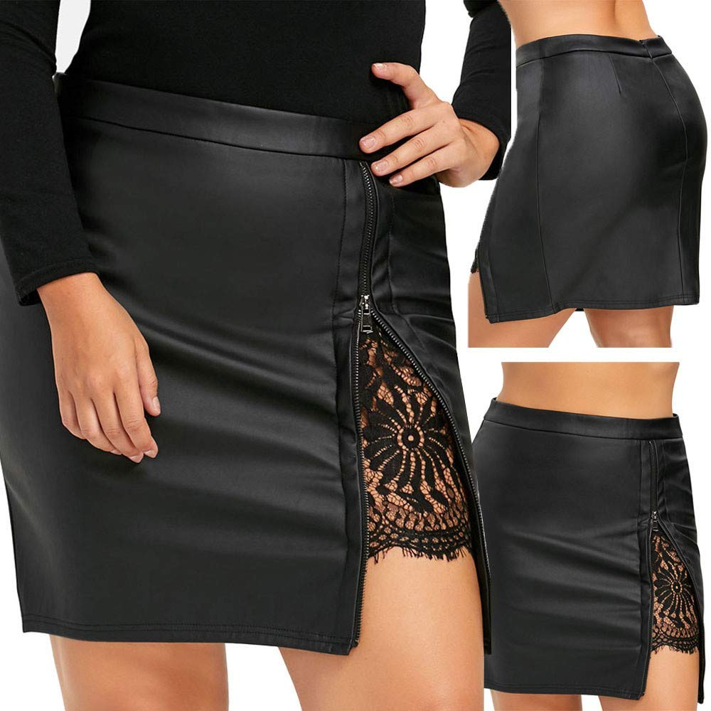 MODOQO Womens Skirts,Casual Short Stylish Leather Lace Uniform Pleated Skirt for Beach