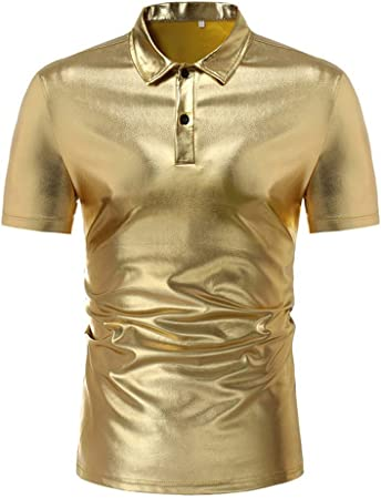 NSSY Camisa de Hombre Summer Shiny Gold Silver Camisa Negra de los Hombres de Manga Corta Slim Fit Party Dress Shirt Men, 4XL: Amazon.es: Hogar