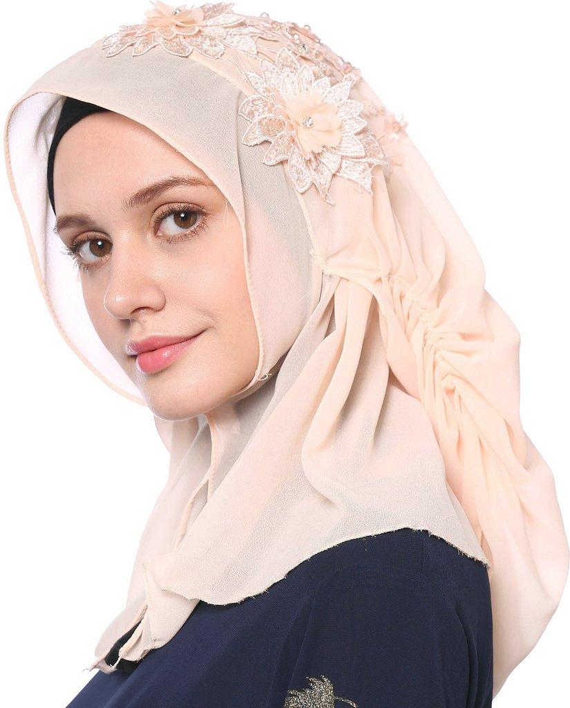YI HENG MEI Women's Modest Muslim Islamic Soft 3D Flower Rhinestones Wedding Hijab with Buttons,Light Pink