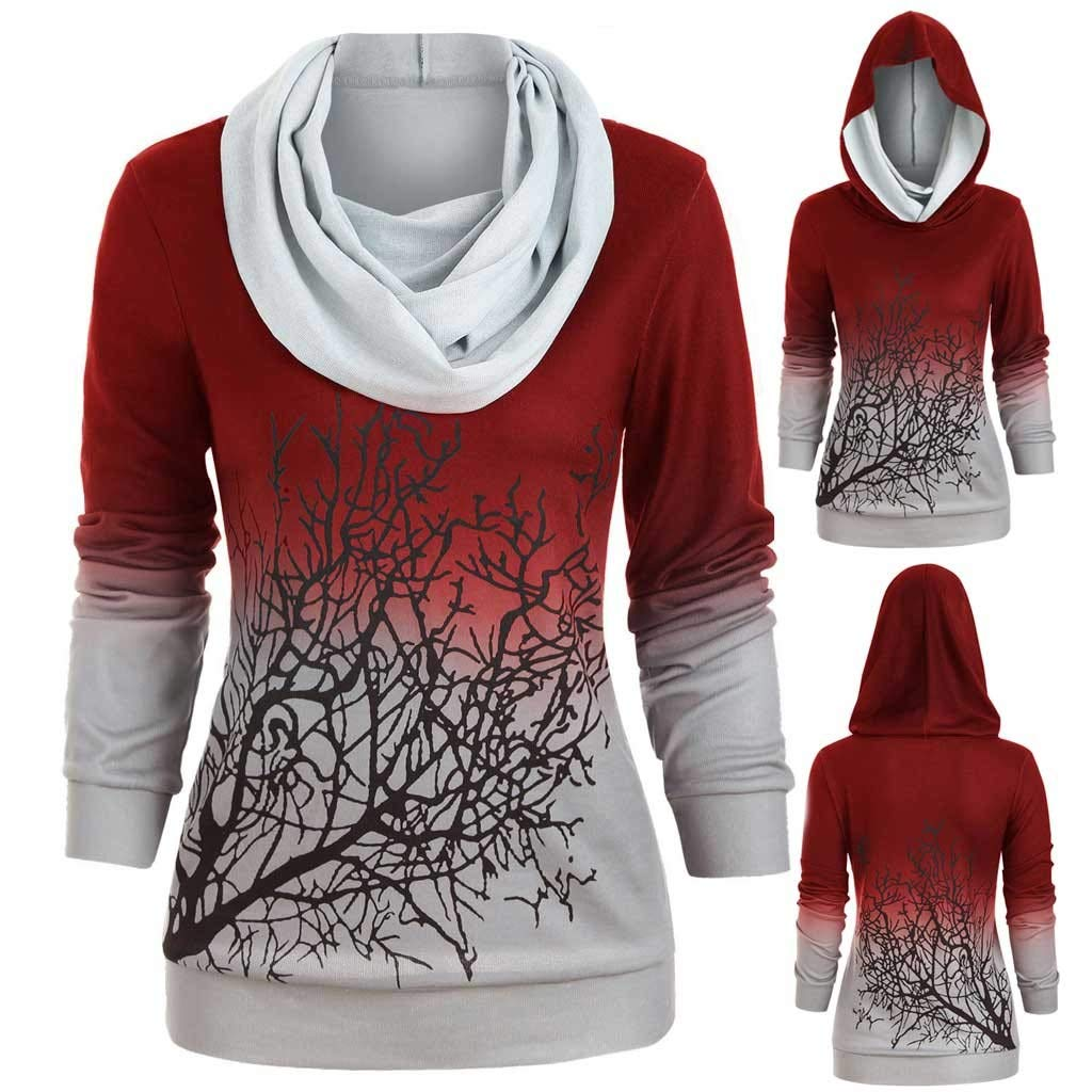 Eoeth Women Plus Size Halloween Tree Print Convertible Collar Sweatshirt Casual Simple T-Shirt Top Blouse Shirts Pullover Red by Eoeth
