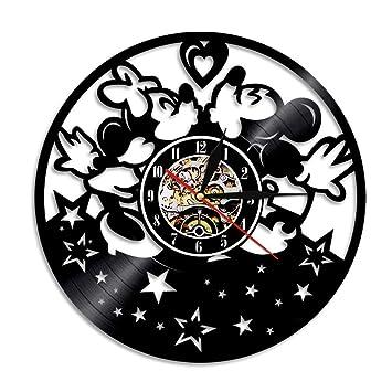 WXK Reloj de Pared de Barrido silencioso sin Hacer tictac, Vinilo Reloj de Registro Mickey Mouse Adornos para Sala de Estar Dormitorio (diámetro 30cm),D: ...