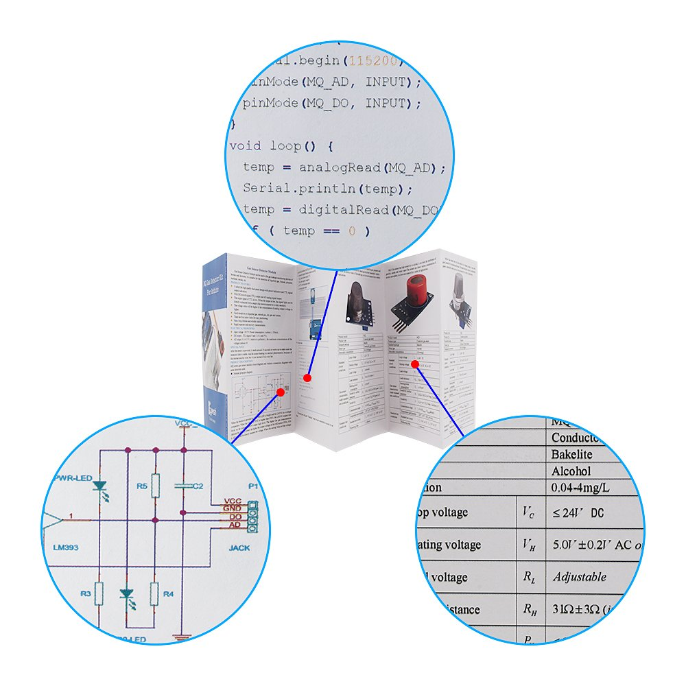 Keywish Gas Sensors Detect Moudle Air Quality Detector Mq7 Circuit Diagram Motion Kit For Arduino Uno R3 Mega2560 Raspberry Pi Starter Beginners Mq 2 3 4 5 6 7 8