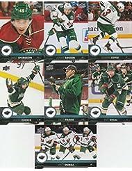 2017-18 Upper Deck Complete Minnesota Wild Team Set of 14 Cards: Charlie Coyle(#93), Eric Staal(#94), Jared Spurgeon(#95), Jason Zucker(#96), Jonas Brodin(#97), Matt Dumba(#98), Zach Parise(#99), Ryan Suter(#339), Devan Dubnyk(#340), Nino Niederreiter(#341), Mikael Granlund(#342), Matt Cullen(#343), Mikko Koivu(#344), Tyler Ennis(#345)