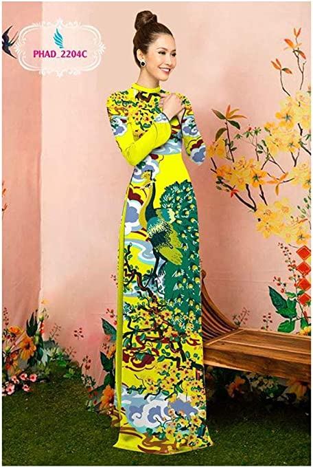 Ao Dai Silk 3D ADVN08052085 Traditional Vietnamese Long Dress Collections with Pants