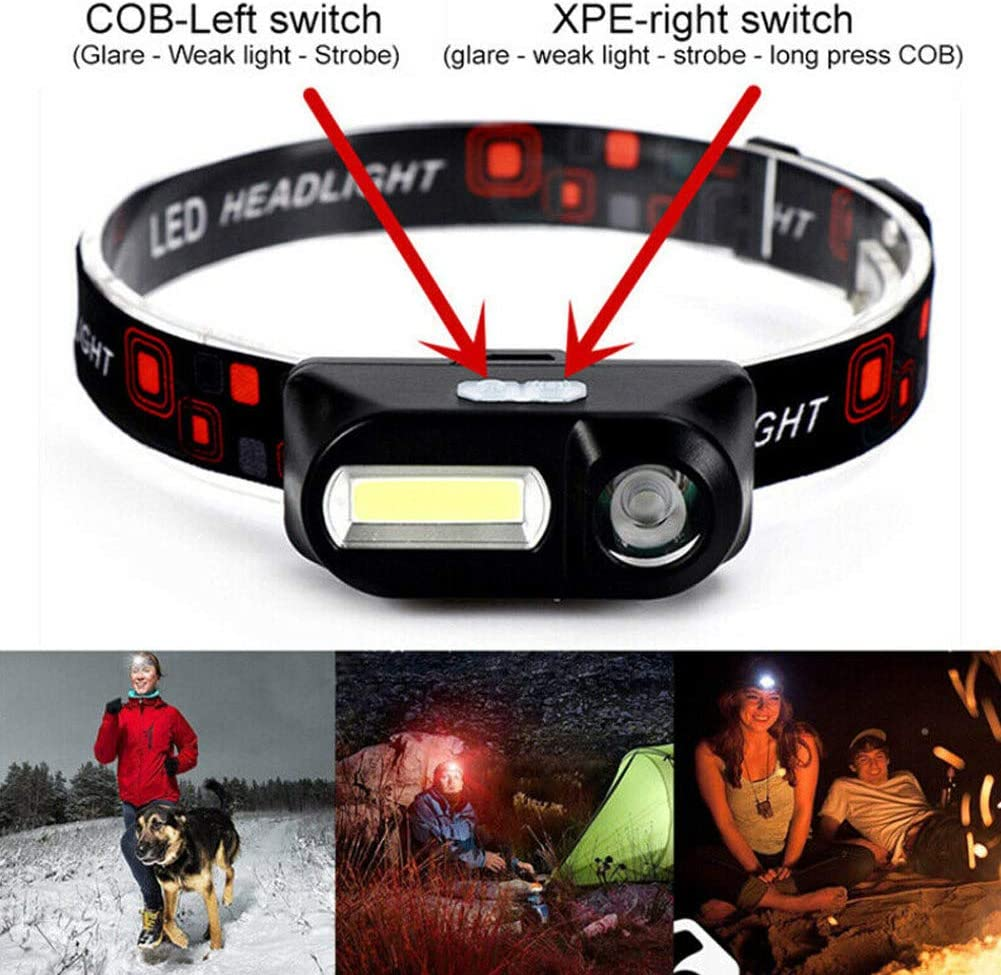 wasserdicht Taschenlampe leicht Multifunktions-Taschenlampe Ultra hell f/ür Camping 18650 Akku Scheinwerfer Fnsky 6 Modi USB wiederaufladbare COB LED Stirnlampe