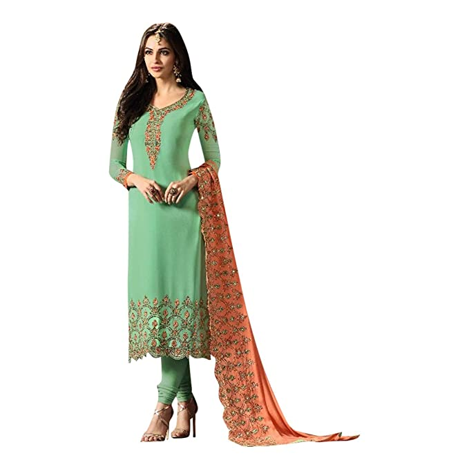 b3feb41e68940f Festival Collection Bridal Indian Straight Salwar kameez Ceremony Wedding  party wear Heavy Embroidered on Dupatta 760 3: Amazon.ca: Clothing &  Accessories