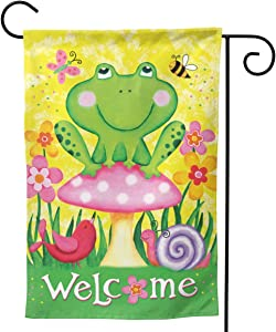 YISHOW Frog and Friends Garden Flag Double Sided Vertical House Flags Frog and Friends Yard Signs Outdoor Decor 12.5 X 18 Inch