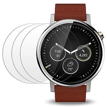 AFUNTA Protector de Pantalla para Moto 360 Primera y Segunda Generación 46mm Reloj Inteligente, 3 Paquetes Vidrio Templado Película Anti: Amazon.es: ...