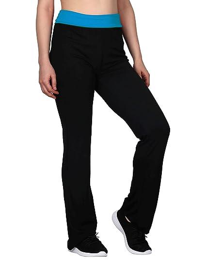 5277f4c79c HDE Women's Color Block Fold Over Waist Yoga Pants Flare Leg Workout  Leggings (Aqua Blue
