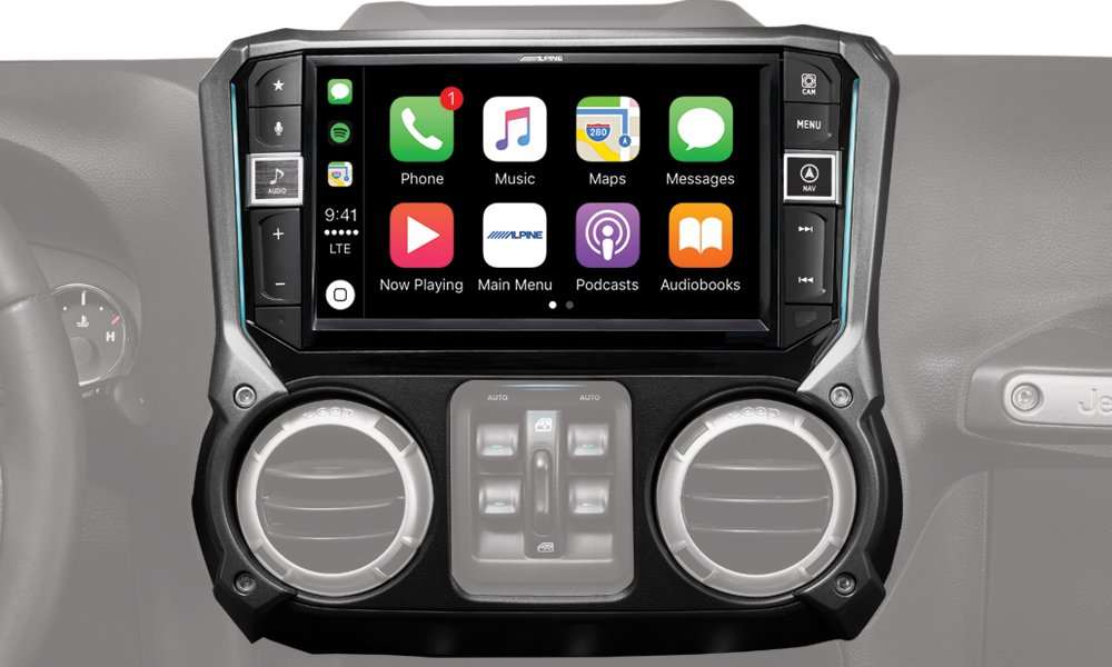 Alpine Electronics i209-WRA Mech-less Restyle Dash System with Apple CarPlay & Android Auto for Jeep Wranglers, 9'' (2011-2017)