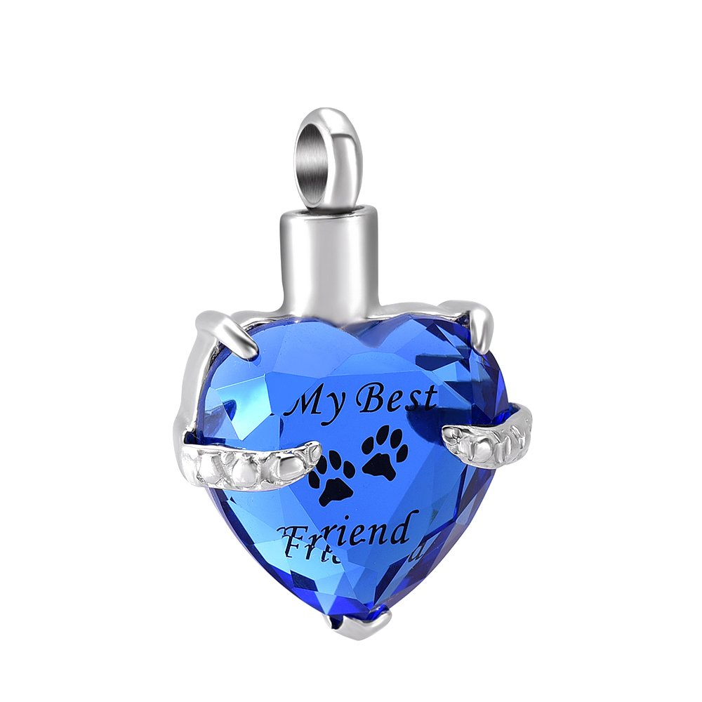 constantlife Beautiful Crystal Heart Stainless Steel Cremation Pendant Ashes Keepsake Memorial Urn Necklace