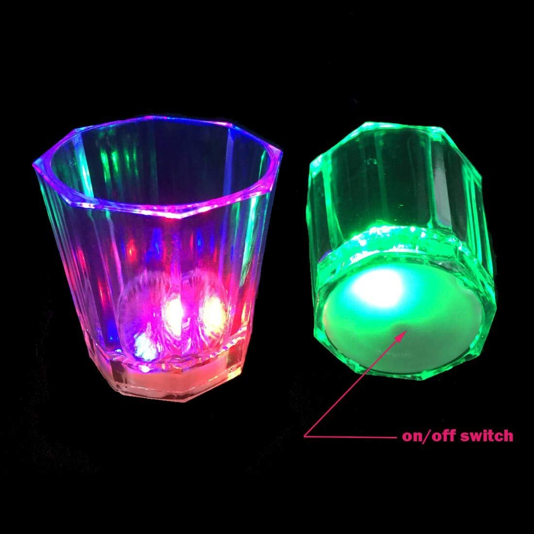 (Pack of 24) Light Up Flashing Shot Glasses w/ On/Off Switch Wedding, Bachelor Birthday Party Cup Bulk Lot - iGifts Inc.