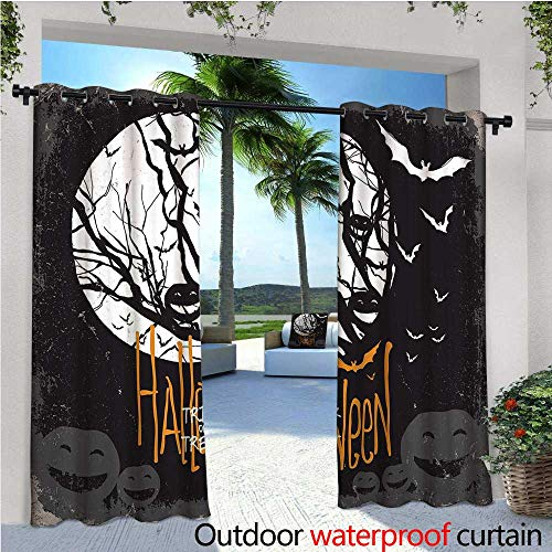 Vintage Halloween Outdoor- Free Standing Outdoor Privacy Curtain Halloween Themed Image with Full Moon and Jack o Lanterns on a Tree for Front Porch Covered Patio Gazebo Dock Beach Home W84