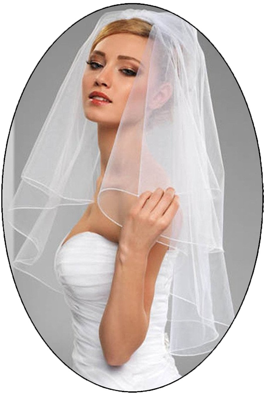 HIDRESS 1T 1 Tier 0.8M Veil Chiffon 3.5 Meters Bride Wedding Mop Veil TS00PL 0.8M WN