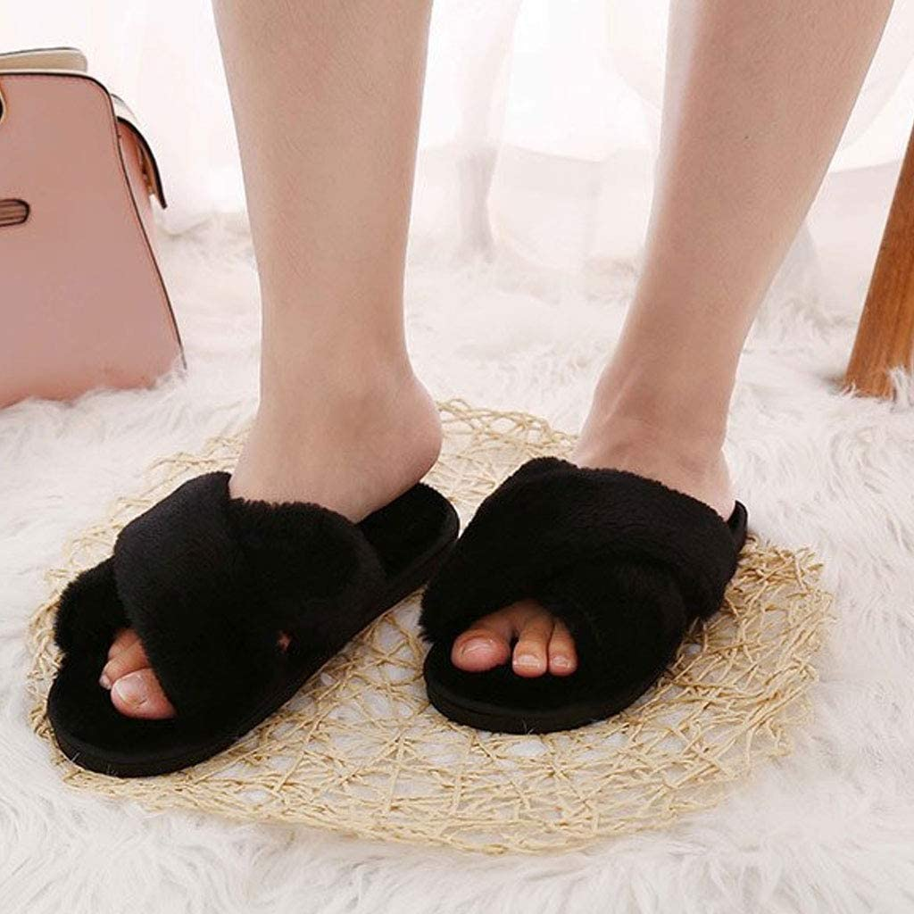 RHSMP Ladies Cross Over Open Toe Fluffy Faux Fur Memory Foam House Slipper Cute Comfy Flat Cozy House Shoes Suitable for Indoor Outdoor Present