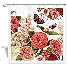 CafePress Shower Curtain - Modern vintage botanical flowers Shower Curtain - White